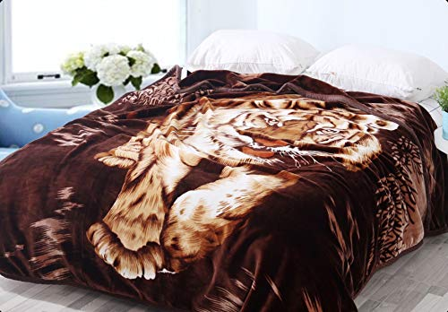 "Hiyoko Wild Animal Print Tiger Blanket, Tv, Cabin, Couch,Plush,Warm, Bedcover Throw, Full Queen, 75"" wx90 h, Silky Mink Cozy, for Girls,Boys, Kids,Men,Women"