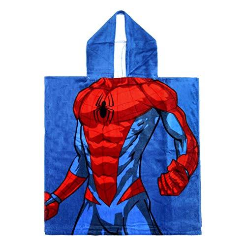 ARTESANÍA CERDÁ Toalla Poncho Niño Marvel Avengers Spiderman, Iron Man, Capitán América, Hulk, 100% algodón, 300 g/m², 60 x 120 cm