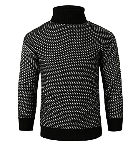 Homovater Mens Casual Slim Fit Chunky Knitted Sweater Turtleneck Winter Warm Tops Knitwear Jumper Pullover Black