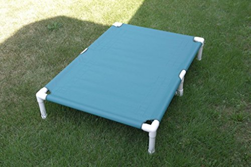 Heavy Duty Dog Bed Pipe Cot, Dogs Up to 200 Pounds Size 39'x56'x10' Color Teal Canvas, Extra Large Dog Bed, Dianes K9 Creations.