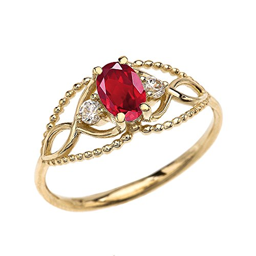 10k Yellow Gold Elegant Beaded Solitaire Ring with Ruby and White Topaz(Size 7)