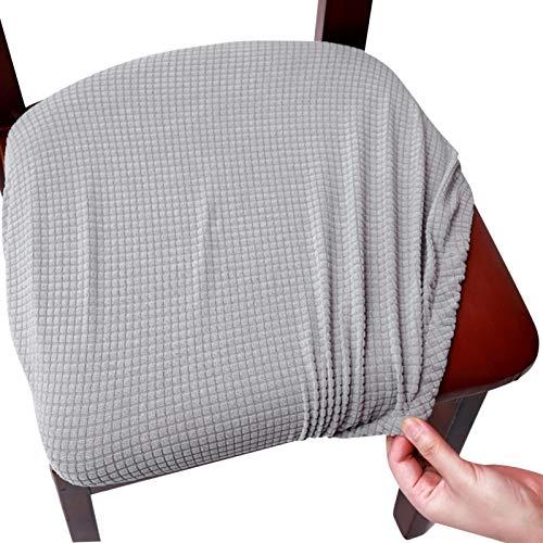 DELITLS Fundas de asiento de silla, fundas elásticas impresas para sillas con lazos elásticos y botones, fundas extraíbles lavables para sillas para comedor, oficina