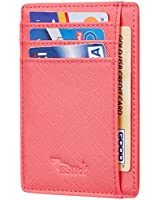 BSWolf RFID Blocking Minimalist Credit Card Holder Slim Front Pocket Genuine Leather Wallets for Men & Women (CH Light Red)