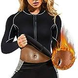 BTTHWR Camicia da Donna per Perdere Peso con Sudore Caldo Camicia in Neoprene per Body Shaper Sauna Tuta da Allenamento Abiti da Allenamento Lunghi Bruciagrassi Top,M
