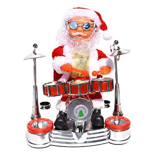 Kisangel Cantando Ballando Babbo Natale Che Suona Il Tamburo Natale Elettrico Babbo Natale Bambola Giocattolo Centrotavola da Tavola Natalizia
