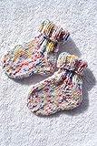 Socken Babysocken Erstlingssocken Stricksocken Baby weiß bunt vegan handgestrickt Größe 17 18 19 0-6 Monate
