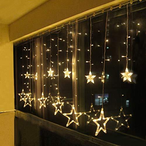 LED Lichtervorhang Sterne Warmweiß Mit Fernbedienung Weihnachtsbeleuchtung Innen Fenster Für Weihnachten Party Hochzeit IP44 31V 8 Modi Mit Timer Dimmbar 138er LEDs Lichterkette Aussen 2,5M