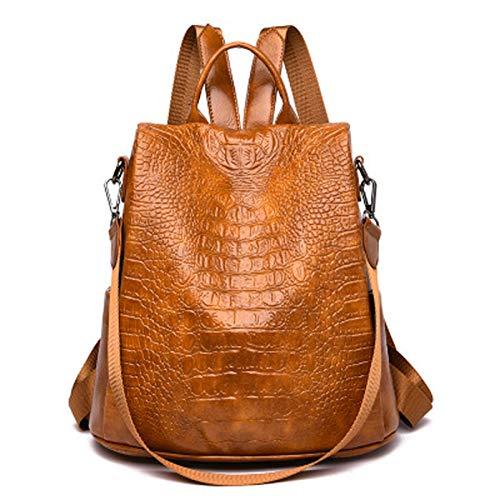 qwerasdf ladies backpack PU leather backpack fashion waterproof and anti-theft one-shoulder portable female bag (Dark brown, 31*16*32cm)