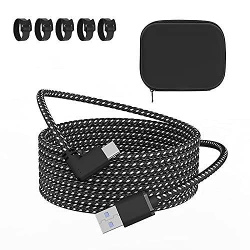 Coolerage Link Cable 16FT/5M Compatible for Oculus Quest 2 | VR Headset Cable for Oculus Quest 2 / Quest 1 | Fast Charging & PC Data Transfer USB C 3.0 Gen1 Braided Cable for VR Headset and Gaming PC