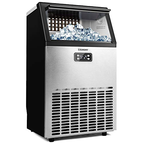 Euhomy Commercial Ice Maker Machine, 100lbs/24H Stainless Steel Under Counter ice Machine with 33lbs Ice Storage Capacity, Freestanding Ice Maker Freestanding Ice Maker Machine