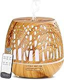 Simpeak Diffusore Atomizzatore di Oil Essenze 400 ml, Umidificatore Diffusore di Aromi con Luce LED per Casa e Ufficio, Camera da Letto- Marrone Chiaro