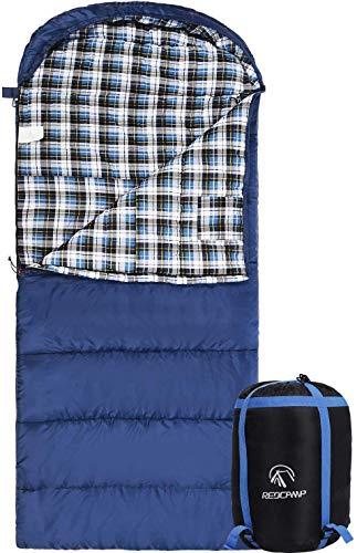 REDCAMP Deckenschlafsack für Erwachsene, 200x90cm Extra Breit Flanell Schlafsack Inlett Baumwolle für 4 Jahreszeiten Winter Herbst Outdoor Camping Wandern Trekking, Blau 2 Pfund Füllung