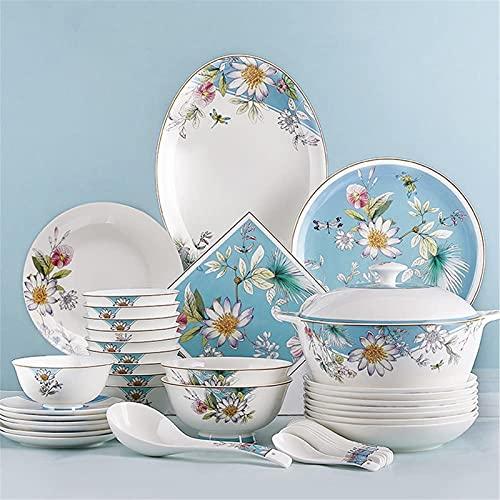 Juego de Platos, 56 PCS Conjuntos de vajilla, vajilla de porcelana de hueso de estilo americano Conjunto con platos y tazones de platos, juego de cena de cerámica de jardín para cocina y comedor, caja