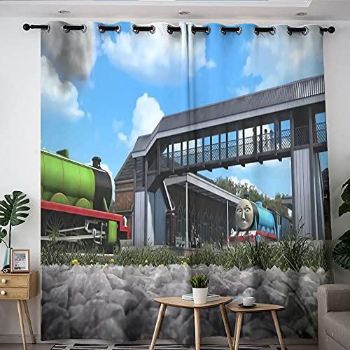 Moderne Wohnzimmer-Dekoration, Thomas, die kleine Lokomotive, Wohnzimmer-Vorhang-Set, 137,2 x 182,9 cm