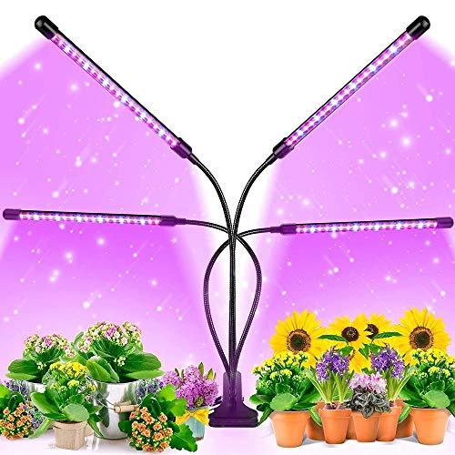 ZGNB Lámpara de Planta Espectro Completo 20W Lámpara de Cultivo LED 4 Cabezales Lámpara de Plantas Crecimiento Regulable 360° 9 Brillo 3 Modos con Temporizador de Encendido 3/9/12 H