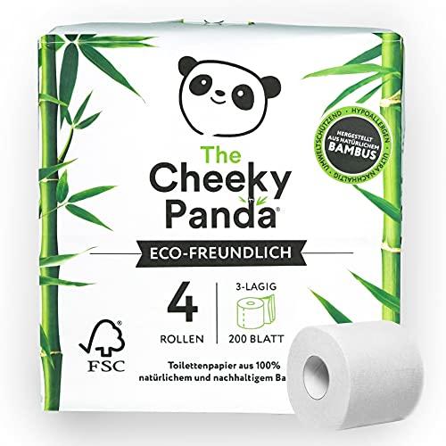 The Cheeky Panda – Toilettenpapier aus Bambus | 4 Rollen | 3-Lagig, 200 Blatt | Hypoallergen, Plastikfrei, Umweltfreundlich, Super Sanft, Reißfest & Nachhaltig