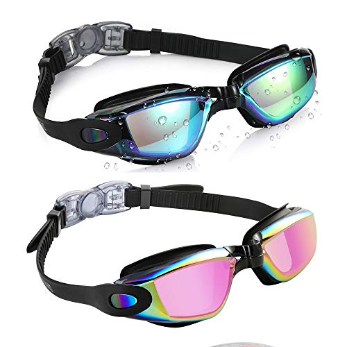 Aegend Pack of 2(Black Mirrored Lenses&Blue Mirrored Lenses )Triathlon-Schwimmbrille, verspiegelt, dicht, Anti-Beschlag-Schutz, UV-Schutz, inklusive Schutzhülle, für Damen, Herren, Jugendliche, Kinder