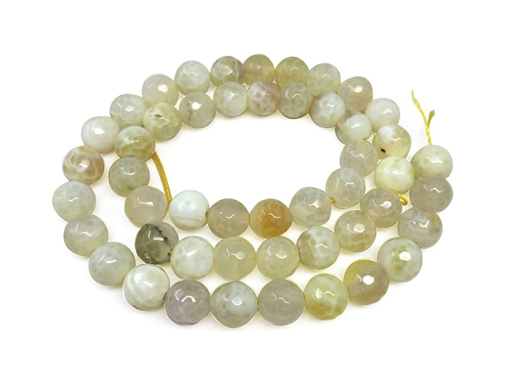 Natural Faceted Yellow Fire Agate Gemsstone 8mm Round Loose Gems Stone Beads 15.5