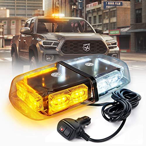 Xprite 36 LED Emergency Strobe Lights Mini Bar 16 Flashing Modes Warning Beacon Light w/Magnetic Base for Law Enforcement Hazard Vehicles, Trucks, Snow Plow, Construction Cars (White Amber/Yellow)