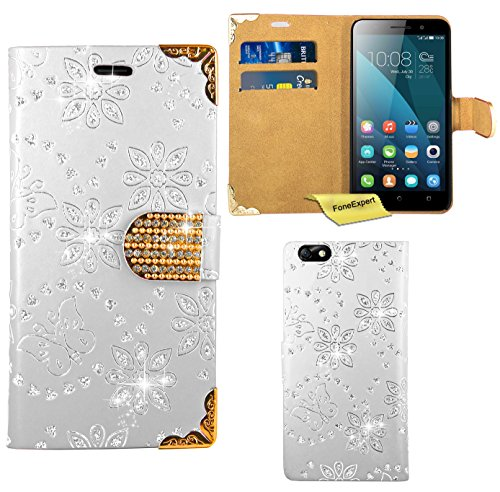 Huawei Honor 4X Handy Tasche, FoneExpert® Bling Luxus Diamant Hülle Wallet Case Cover Hüllen Etui Ledertasche Premium Lederhülle Schutzhülle für Huawei Honor 4X (Weiß)