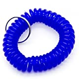 50PCS Blue Color Soft Spring Spiral Coil Elastic Wrist Band Key Ring Chain