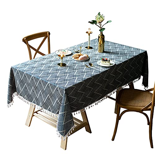 VIVILINEN Mantel Rectángulo Mantel de Lino de algodón, Borla de Costura Cuadrada Diseño Manteles rectangulares Manteles Lavables para Mesa de Comedor de Cocina (Armada, 140x140cm)