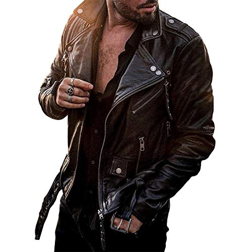 Lcucyes Leather Motorcycle Leather Jacket Casual Lapel Standard Slim Zipper Leather Jacket (Black,X-Large)