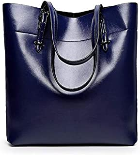 Fashion Blue Leather Shoulder Bag For Women Trendy Elegant Tote Bag European Style Ladies HandBag