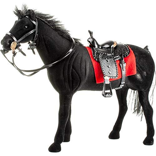 alles-meine.de GmbH großes Pferd / Rappe - schwarz - mit abnehmbaren Sattel - 23 cm hoch - ideal auch für 29 cm Spielzeug Puppen / Pferde beflockt - weiches Fell - aus Kunststoff..