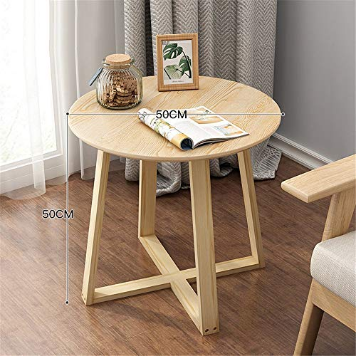 JOMSK Table Basse de Jardin Round Sofa Side Table d'appoint, Canapé Blanc Petite Table d'appoint for Bureau Accueil Salon Chambre Meubles (Color : Wood, Size : 50x50cm)