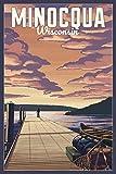 Minocqua, Wisconsin - Dock Scene and Lake 98500 (12x18 Art Print, Wall Decor Travel Poster)