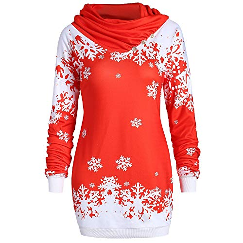 QingJiu Damen Weihnachts Sweatshirt Schneeflocke Gedruckt Knopf Tops Mode Schal Kragen Langarm Bluse