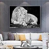 キャンバスの絵画ブラックホワイトワイルドライオンズキャンバスのポスターと壁に動物をプリントリビングルームの装飾のためのアート写真-60x90mフレームなし