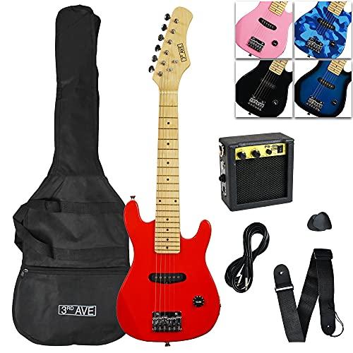 3rd Avenue Junior elgitarrpaket för nybörjare med 6 månaders GRATIS lektioner, Amp, kabel, spelväska och rem – röd