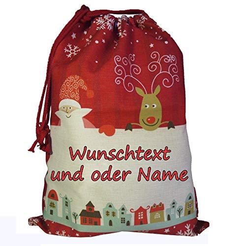 Nikolaussack beidseitig personalisierbar mit Namen, Text, Spruch. / Weihnachtsmann/Rentier/Geschenkbeutel/Jutesack/Nikolaus/personalisierte Verpackung/verschiedene Größen