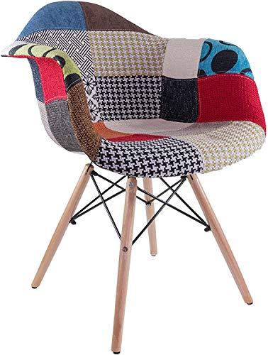 Mediawave Store - Silla Fantasy de tejido Patchwork de 62 x 62 x 82 cm, con patas de madera y asiento suave, diseño étnico, moderno, sillón, dormitorio, salón, oficina