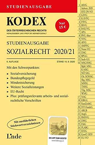 KODEX Studienausgabe Sozialrecht 2020/21: Studienausgabe