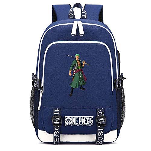 XYUANG One Piece Monkey·D·Luffy/Portgas·D· Ace/Roronoa Zoro Two-Way Zipper USB Blue Mochila para portátil de Negocios Unisex Backpack Profesional-A