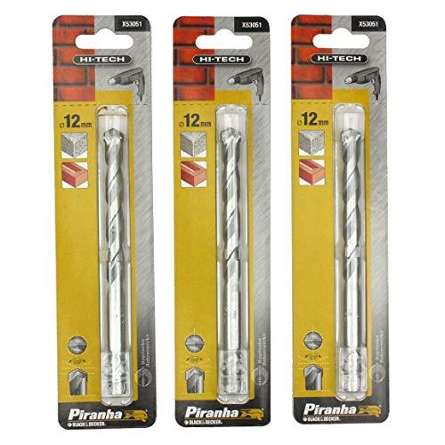 3 Piranha X53051 Hi-Tech 12mm x 150mm TCT Drill Bits. Brick Masonry & Concrete (3 Packs)