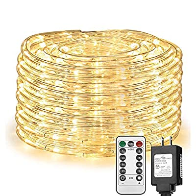 Solhice 66ft LED Rope Lights, Waterproof 335 LEDs Tube Fairy Light with Remote Control, Warm White, Indoor Outdoor for Deck, Patio, Wedding, Bedroom Decor
