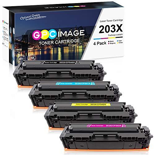 GPC Image 203X - Cartucce toner compatibili per HP 203X CF540X 203A CF540A per HP Color Laserjet Pro MFP M281fdw-M254dw-MFP M281fdn-MFP M280nw-M254nw (Nero Ciano Magenta Giallo, confezione da 4)