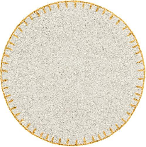 Moutarde recycl/é 120 /Ø Happy Decor Kids HDK-Tapis Sky Shades-Mustard 100 /% coton Beige