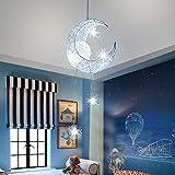 Lámpara colgante LED Moon Star, LTXDJ Moon Light Shadow Light Fairy Lámpara colgante LED de aluminio para dormitorio infantil Lámpara de techo para Dormitorio infantil Sala de estar Decoración hogar