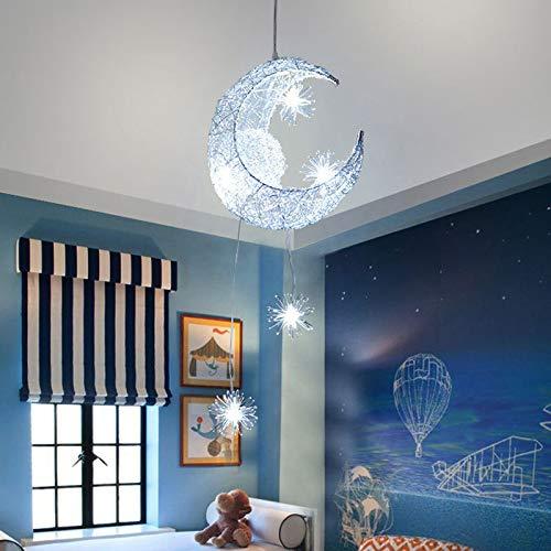 Lámpara colgante LED, lámpara colgante de luz de hadas Houkiper Lámpara de techo LED de aluminio con luz de luna y estrellas LED de hadas (Day White, Pack of 1X)