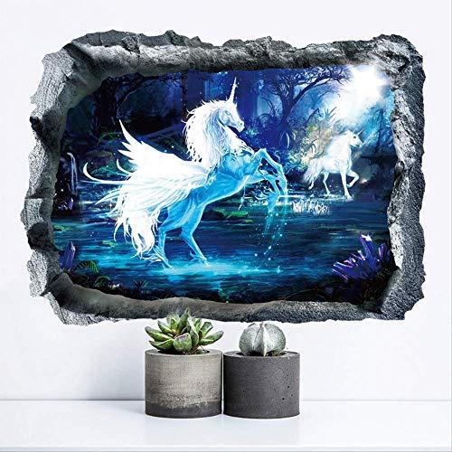Forest Unicorn Broken Muursticker voor kinderen, room, Horse Kop Nursery Bedroom Livingroom 3D-effect Wall Decor Muursticker Art Gift
