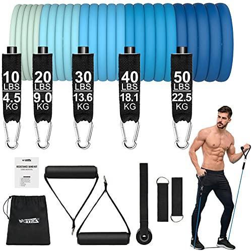 Gomas elasticas musculacion,Conjunto de bandas elásticas WOTEK para hombre,5 bandas de resistencia de tubo con anclaje en la puerta,bolsa portátil,para entrenamiento muscular,fisioterapia,yoga,pilates