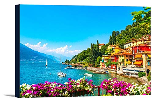 Varenna, Italy - View of Lake Como with Sailboats 9025160 (24x16 Gallery Wrapped Stretched Canvas)