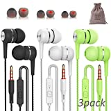 3 Pack Eearbuds with Microphone for iPhone Android Mac Laptop PC Headphones Ear Cell Phones Wired Pack Buds Best inear Earphones Bulk audifonos mp3 Corded Stereo audífonos para celulares with Pouch