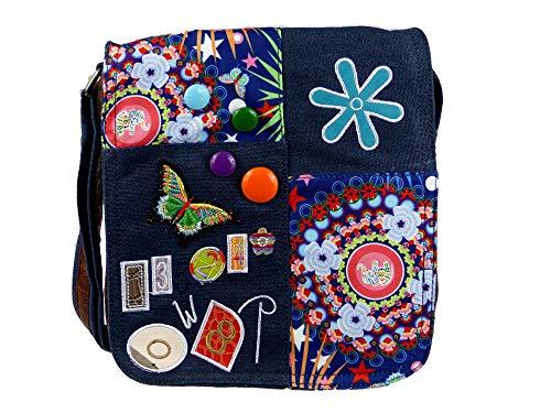 yourlifeyourstyle Damen Canvas Umhängetasche aufgenähte Patches Button florales Muster (blau)
