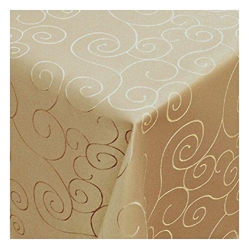 MODERNO Tischdecke Damast mit Saum im Ornamentedesign - Eckig Oval und Rund in Premiumqualität- Größe und Farbe wählbar ECKIG 100x100 cm in Creme